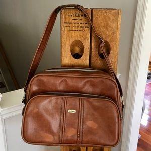 Vintage Airway Brown Carry On Weekender Travel Bag